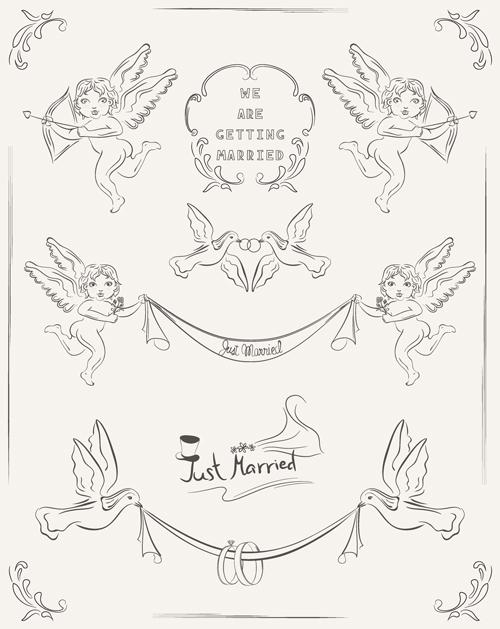 Romantic wedding Invitation cards hand drawn vector 01 free download