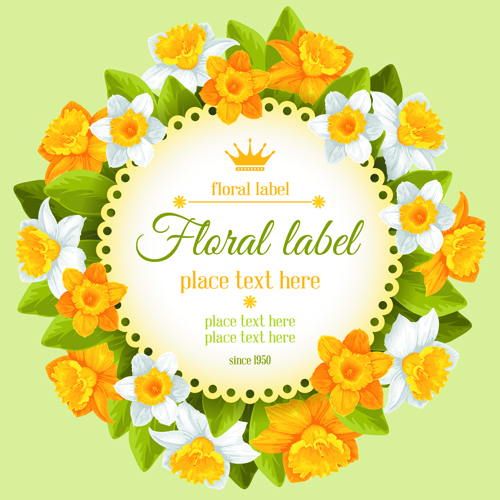 Round Label With Beautiful Flower Background Vector 01