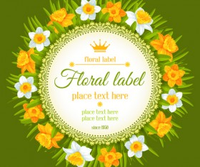 Round label with beautiful flower background vector 02