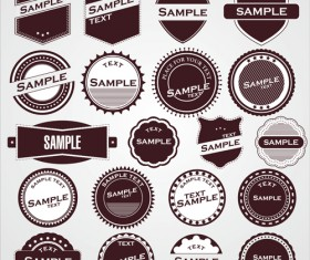 Round labels vintage styles vector 01