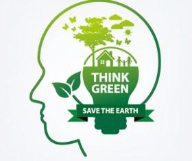 Save world eco environmental protection template vector 02