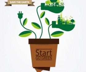 Save world eco environmental protection template vector 04