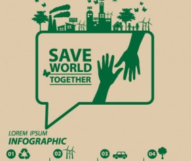 Save world eco environmental protection template vector 08
