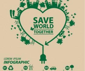 Save world eco environmental protection template vector 10