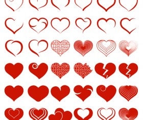 Simple heart shapes icons vectors
