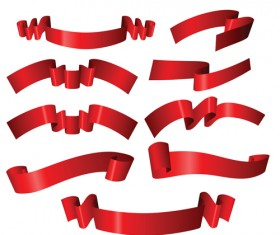 Simply red ribbon vector banners set 05