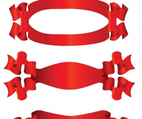 Simply red ribbon vector banners set 08