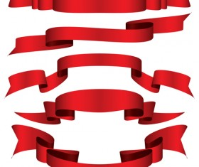 Simply red ribbon vector banners set 09