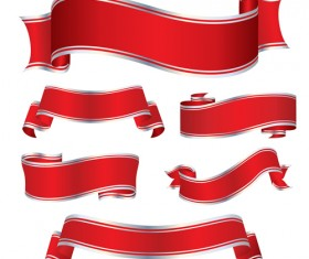 Simply red ribbon vector banners set 10