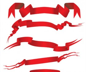 Simply red ribbon vector banners set 11