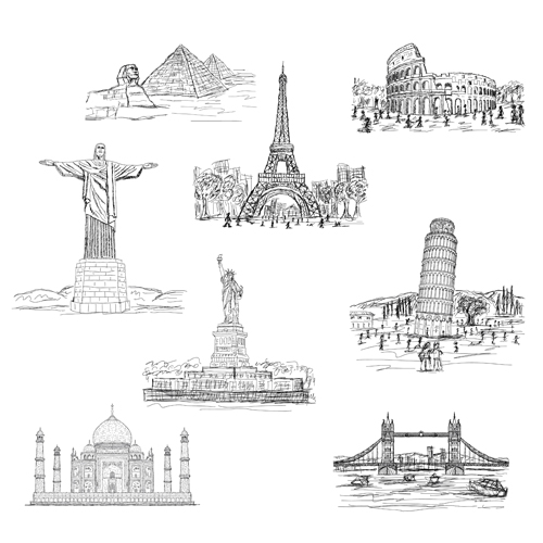 Sketch World Famous Buildings Vector Material
