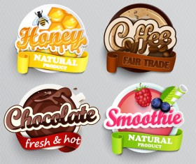 Stylish food lables vector design 01