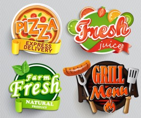 Stylish food lables vector design 02