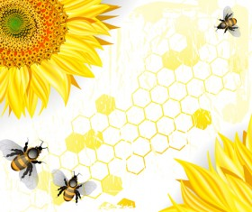 Sunflowers with bees vector graphics