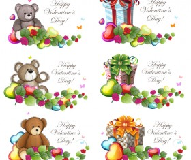 Teddy bear Valentines cards vectors 01