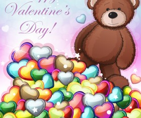 Teddy bear Valentines cards vectors 02