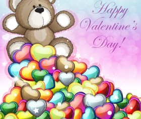 Teddy bear Valentines cards vectors 03