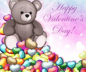Teddy bear Valentines cards vectors 04