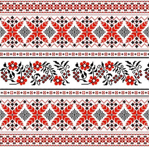 Ukraine style fabric pattern vector 01