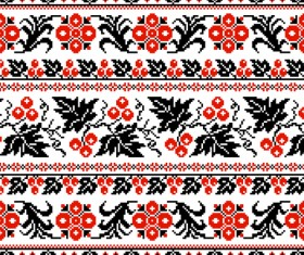 Ukraine style fabric pattern vector 02