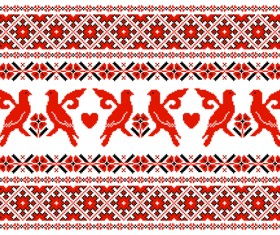 Ukraine style fabric pattern vector 03