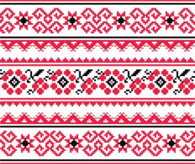 Ukraine style fabric pattern vector 04