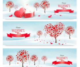 Valentine banners with heart tree vector 01