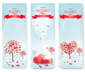 Valentine banners with heart tree vector 02