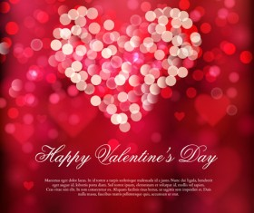 Valentine red background with shiny heart vector