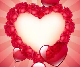 Valentine red heart background creative vector 01