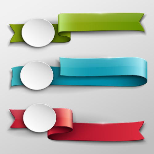Vector Banner Colored Ribbon Design 02 Vector Banner