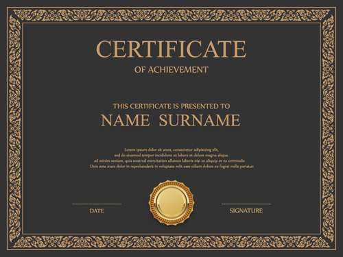 Vintage frame certificate template vectors 02 free download for Certificate of appreciation template psd free download