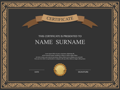 Certificate template vector for free download vintage frame certificate template vectors 03 yadclub Choice Image