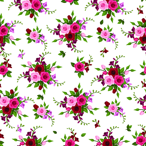 Vintage roses vector seamless pattern 02 - Vector Flower ...