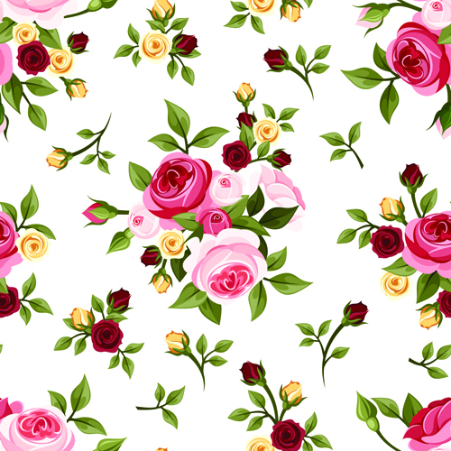 Vintage roses vector seamless pattern 03