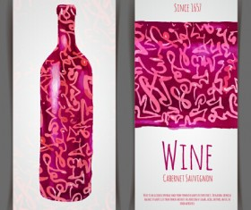 Watercolor wine stickers creative vector 01