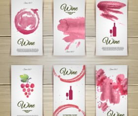 Watercolor wine stickers creative vector 03