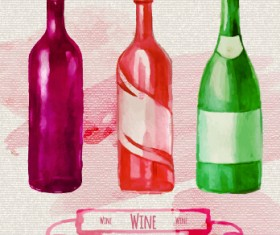 Watercolor wine stickers creative vector 06