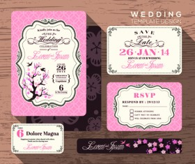 Wedding cards template ornate vector 01