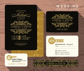 Wedding cards template ornate vector 02