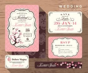 Wedding template design elements kit vector 01
