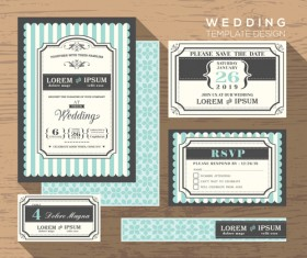 Wedding template design elements kit vector 02