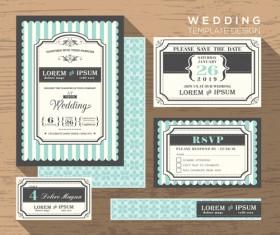 Wedding template design elements kit vector 02