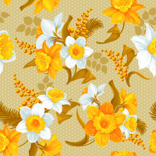 White And Yellow Flowers Vector Seamless Pattern 02 Free