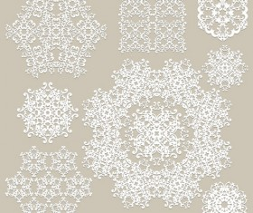 White lace ornaments snowflake vectors