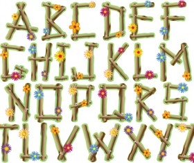 Wood with flower alphabet vector material