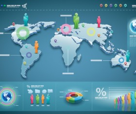 World map with business infographic vector 01
