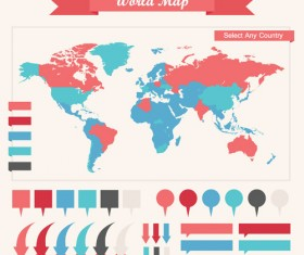World map with business infographic vector 03