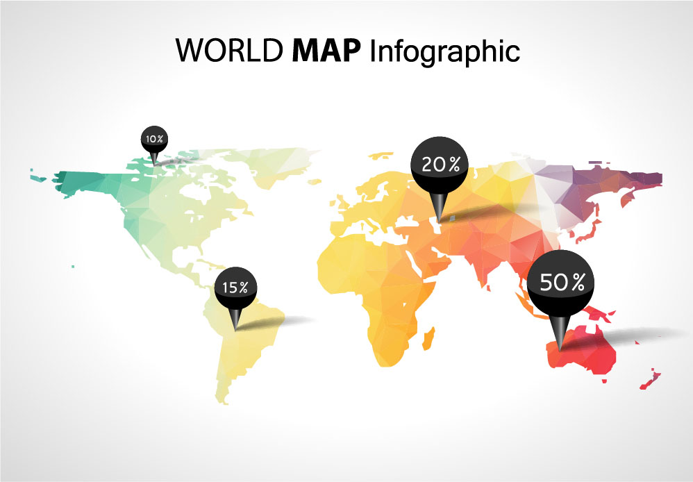 World map with business infographic vector 05