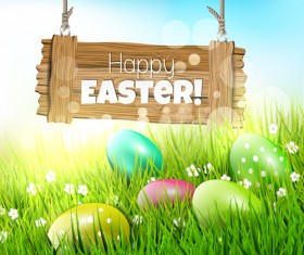 2015 easter with spring background vector 03